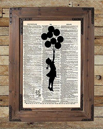 Banksy girl with balloons, balloon art, graffiti art, girl silhouette