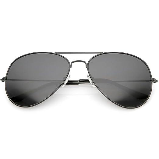 368ff15440 sunglassLA - Large Oversize Aviator Sunglasses Metal Frame Crossbar Thin Arms  60mm (Black Smoke