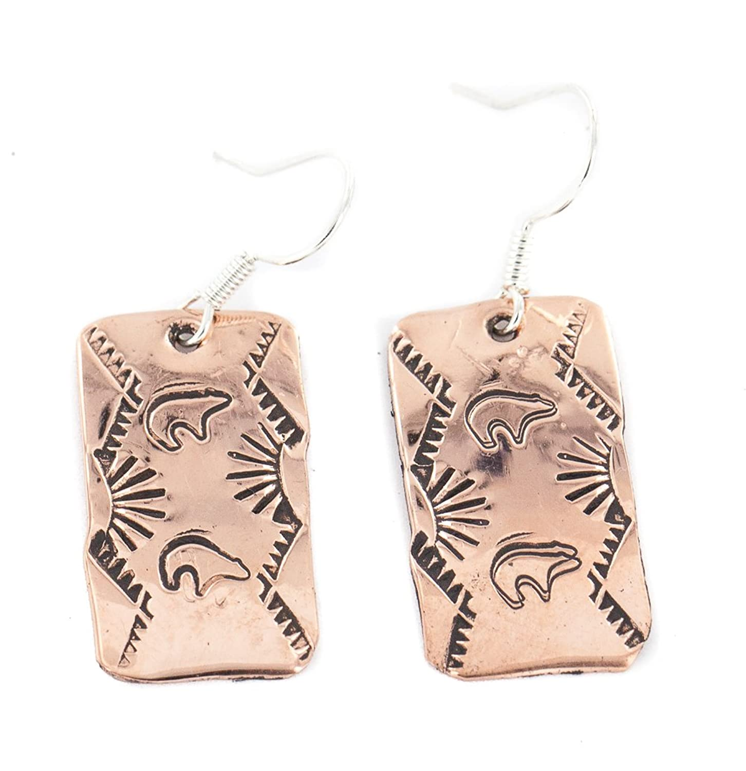 $90 Retail Tag Handmade Authentic Bear Navajo Made by Robert Little Pure Copper Native American Dangle Earrings