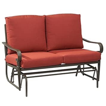 Hampton Bay Oak Cliff Metal Outdoor Glider With Chili Cushions