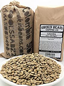 5 LBS - COLOMBIA IN A BURLAP BAG - Farm: Huila Region, Washed Sundried, Smooth, Fruity, Blackberry Finish - Specialty-Grade Green Unroasted Whole Coffee Beans, for Home Coffee Roaster, by SMOKINBEANS