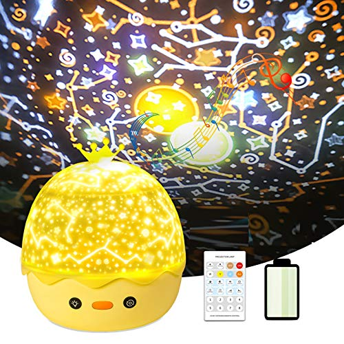 Night Light Projector Star Projector for Kids Babies Bedroom with Music Portable Smart Sleep Soother with Remote Control Gifts Baby Kids Toys,6 Films 360° Rotation Timer Good for Party,Birthday Gift