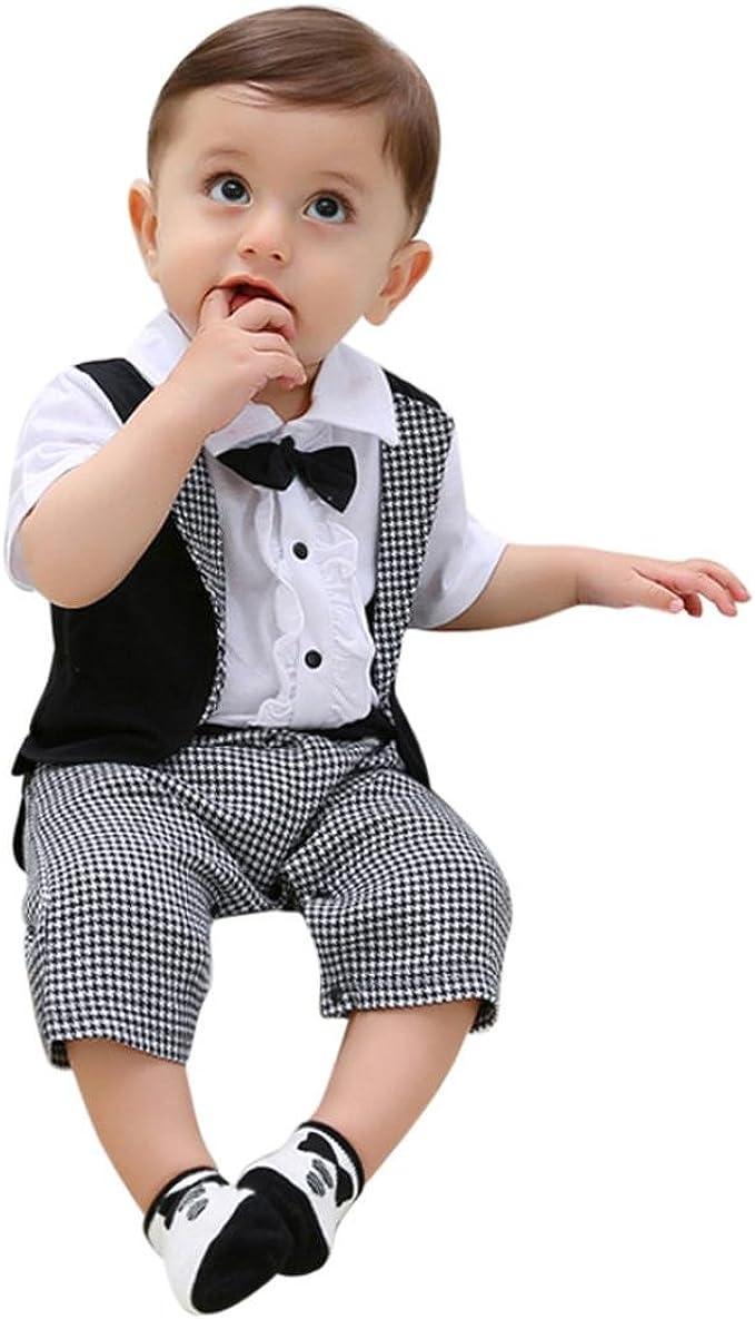 Ecurson Infant Newborn Baby Boys Short Sleeve Romper Jumpsuit