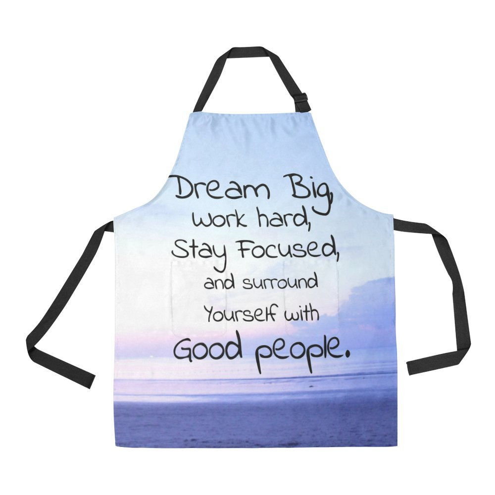 InterestPrint Tropical Beach with Inspirational Quote Dream Big Home Kitchen Apron for Women Men with Pockets, Unisex Adjustable Bib Apron for Cooking Baking Gardening, Large Size