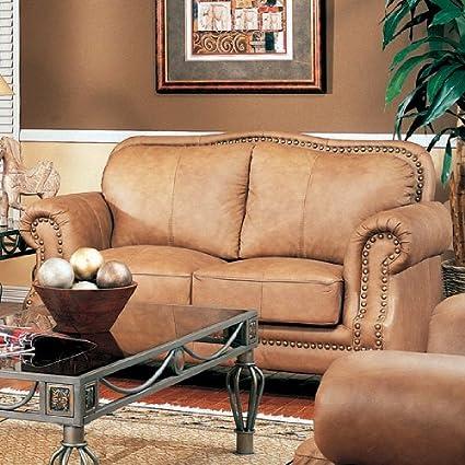 Miraculous Amazon Com Savannah Caramel Color Leather Sofa Love Seat W Pabps2019 Chair Design Images Pabps2019Com