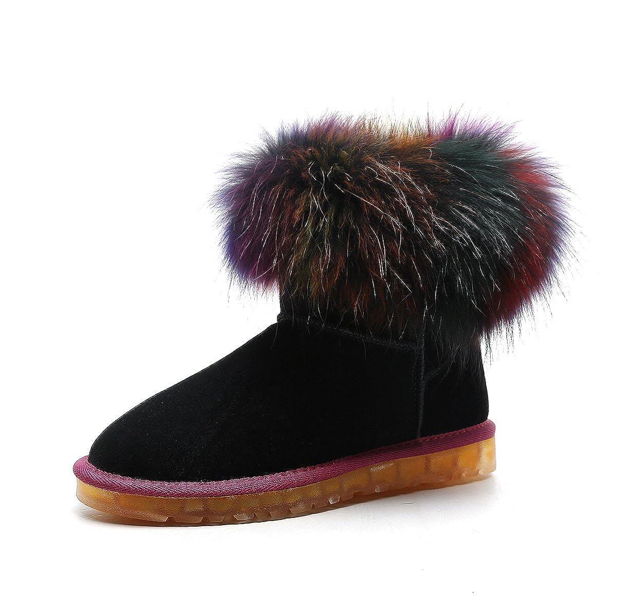 DYF Schuhe Kurze Stiefel Stiefel Stiefel Bunten Runden Kopf mit Flachem Boden Groß Schnee, Schwarz, 42 9cfc38