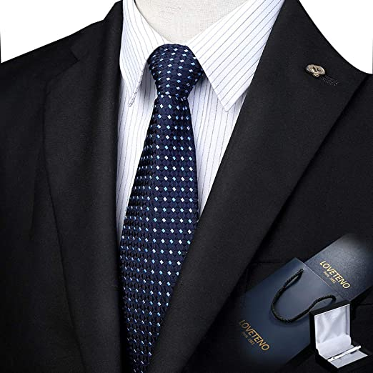 Corbata de los Hombres Seda Ancho 8 / 9cm Moda a Cuadros Azul ...