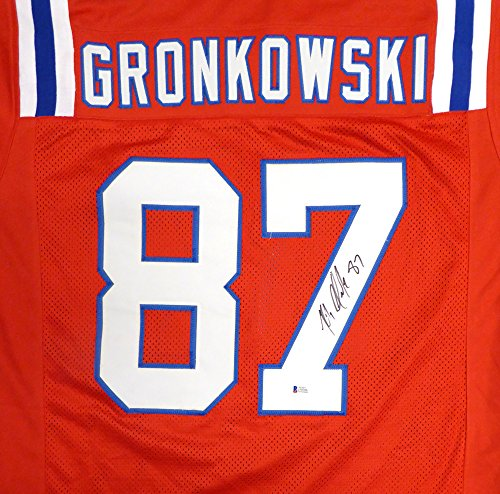 (New England Patriots Rob Gronkowski Autographed Red Jersey Beckett BAS)