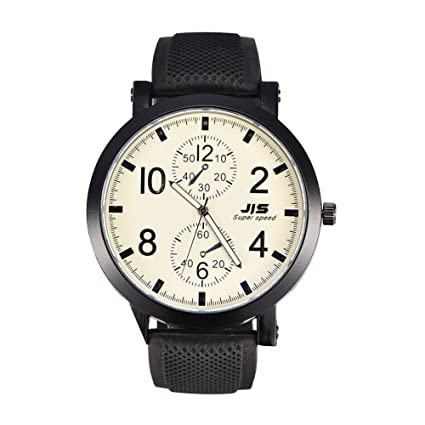 2 tipos de hombres de moda JIS reloj de cuarzo analógico reloj correa de silicona redondo