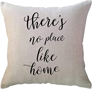 ULOVE LOVE YOURSELF Farmhouse Decorative Throw Pillow Covers with There's No Place Like Home Saying Farmhouse Decor Pillowcase 18 x 18 for Home Decor Housewarming Gifts
