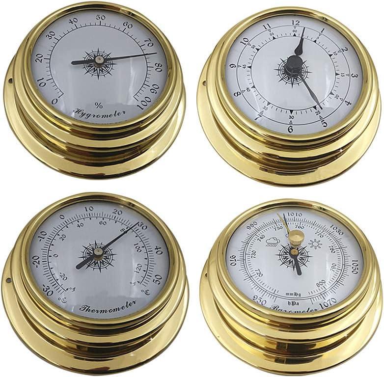 Dyda6 - Juego de 4 Estaciones meteorológicas para Interior y Exterior, termómetro, higrómetro, barómetro, medidor de Reloj, medidor de Pared, Mini barómetro, termómetro, higrómetro, Show, 4 Piezas