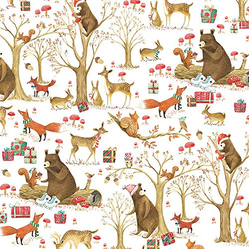 Christmas in The Enchanted Forest Folded Wrapping Paper, 2 Feet x 10 Feet Folded Christmas Gift Wrap with Bears, Deer, Fox, Squirrels, Owls, Rabbits, WRAP & Revel® F