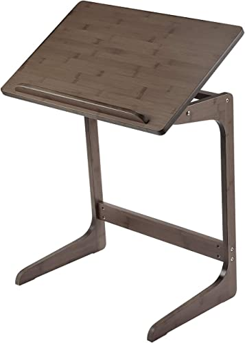 TV Tray Nnewvante Bamboo Snack Table for Couch 5 Angles Adjustable Laptop Desk C Table Sofa Side End Table for Eating Dinner-Living Room Bedroom Wood, Walnut