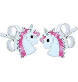 Sterling Silver Unicorn Earrings - Silver Sparkle Giltter MPGICAz