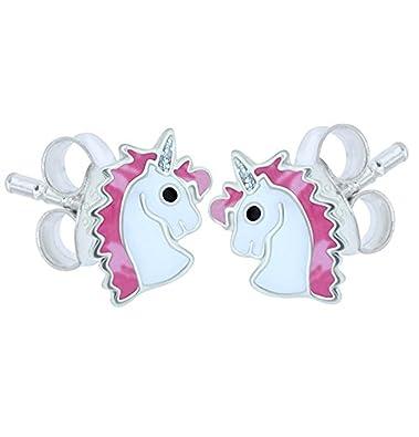 Sterling Silver Unicorn Earrings - Purple Glitter JfNIZJ