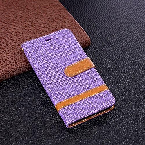 Grandcaser Funda para Huawei P9 Lite,Double Layer Protectora Funda Suave Stitch Denim Leather Cuero Libro Flip Estuche de Silicona Bumper Flexible Cover Carcasa - Azul Oscuro Púrpura