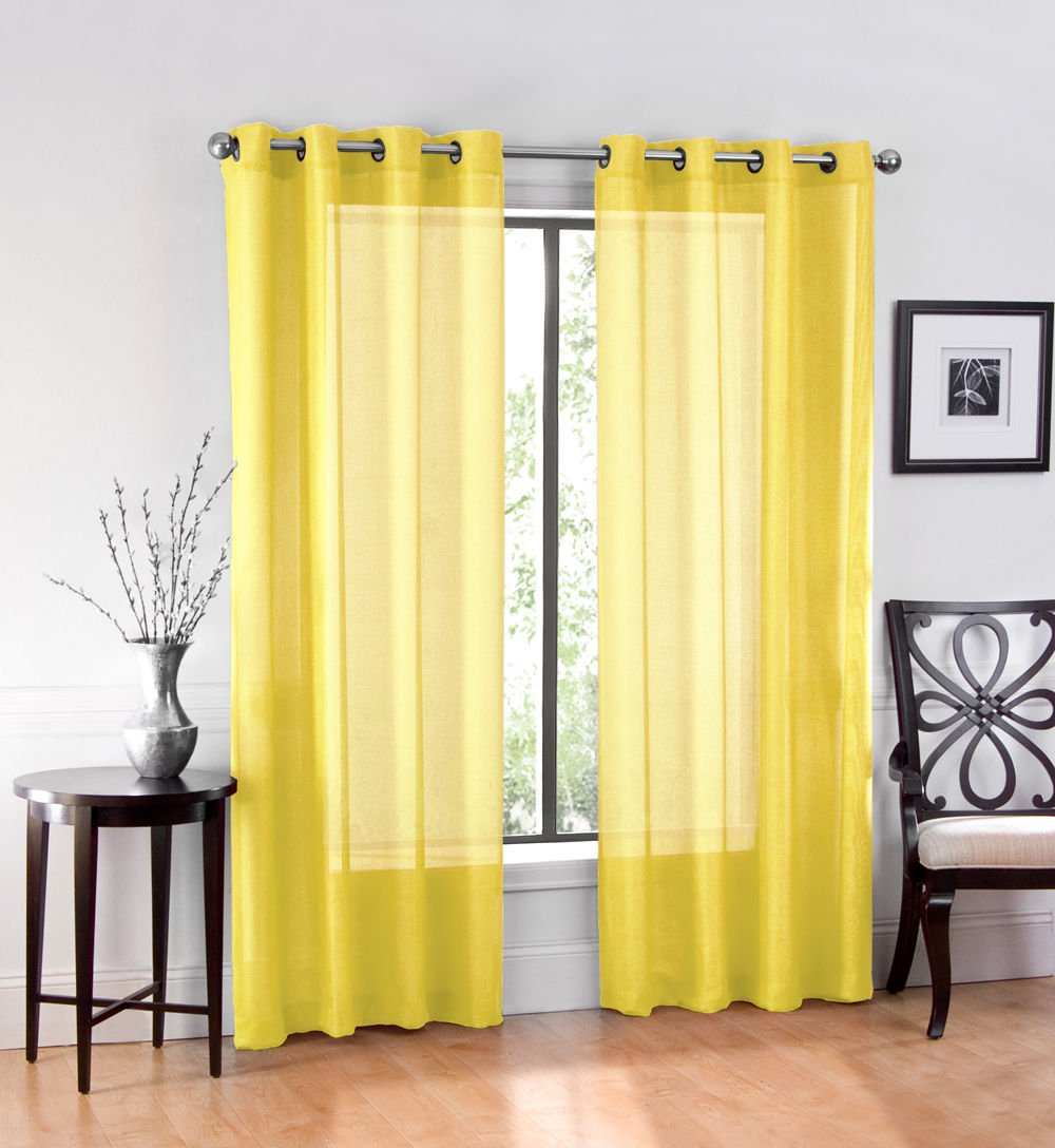 2 Pack: GoodGram Ultra Luxurious High Woven Elegant Sheer Grommet Curtain Panels Yellow