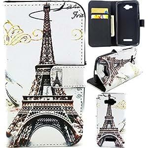 C7 Case,Alcatel C7 Case,Nacycase Alcatel C7 Wallet Case [Stand Feature] Magnetic Snap Case Wallet [Wallet S] Premium Wallet Case Flip Case Cover Skin for Alcatel One Touch Pop C7 -Eiffel Tower