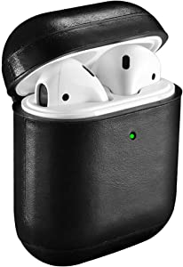 AirPods Leather Case,ICARER Genuine Leather Protective Shockproof Cover for Apple AirPods 1 Case, Airpods 2 Case Support Wireless Charging (Front LED is Visible) (Black)