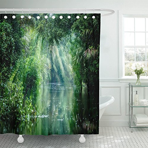 Emvency Shower Curtain Tortuguero National Park Rainforest Costa Rica Caribbean Coast Central Waterproof Polyester Fabric 72 x 72 Inches Set with - Park National Tortuguero