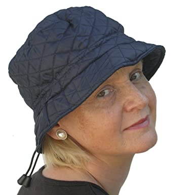 FSC Ladies Showerproof Quilted Bucket Winter Rain Hat (Navy)  Amazon ... a7a86c3697c