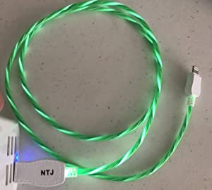 New Tech Junkies Candy Flow Moving EL Light-UP Flow led USB Data Charger Cable for iPhone X 8 7 6 5s (Green)
