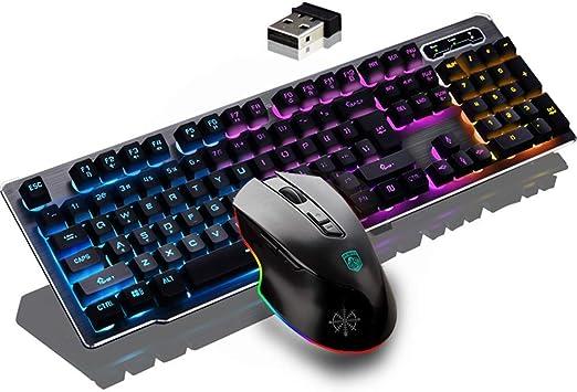 Teclado y mouse inalámbricos, con mouse pad, Keycap suspendido Sentido mecánico Backlit Gaming Keyboard Mouse, Lámpara de respiración ajustable, ...