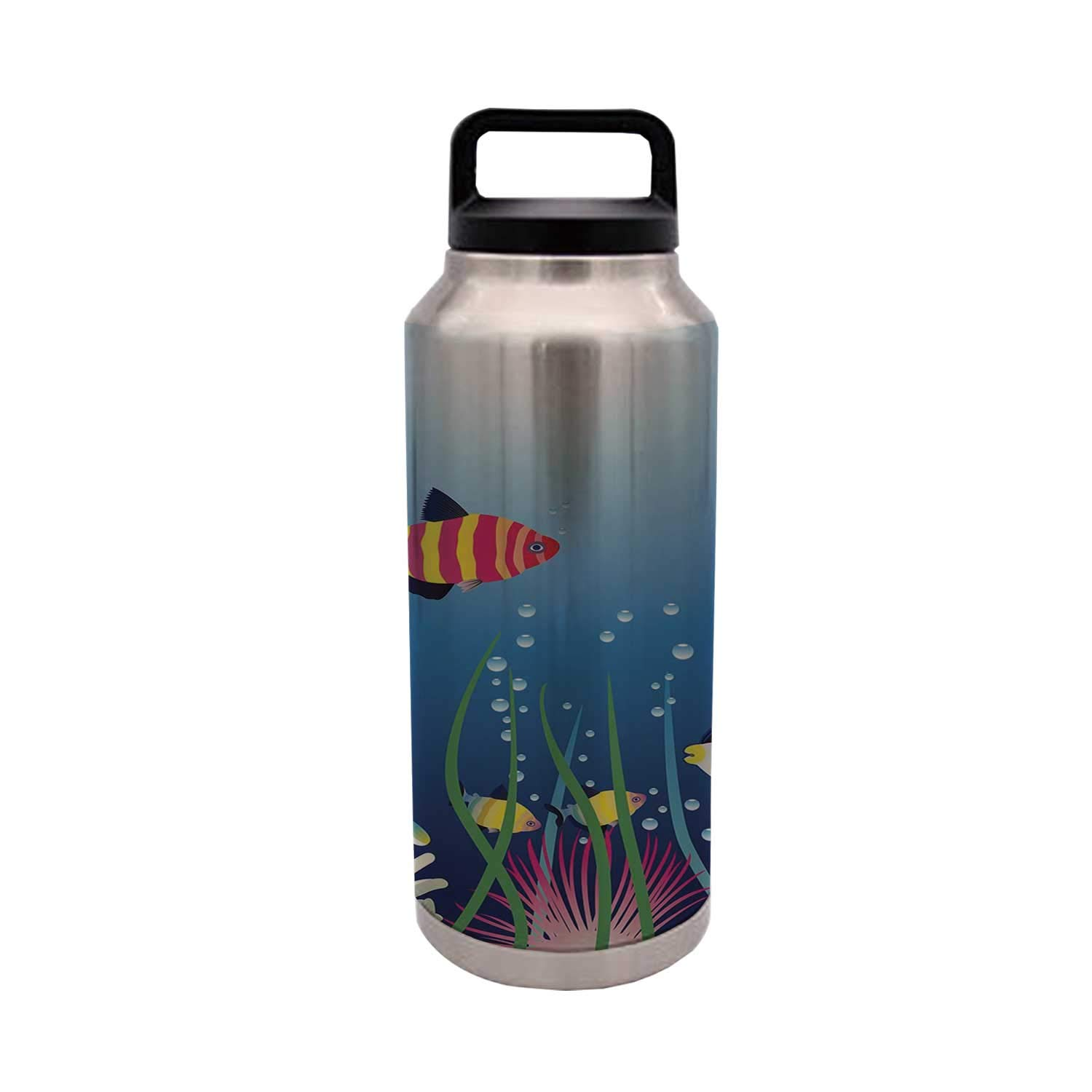 Aquarium Stylish 36oz Stainless Steel Bottle,Aquarium Seascape with Colorful Tropical Fishes Bubbles Seaweed Marine Theme Decorative for Home Travel Office,36oz by MOOCOM