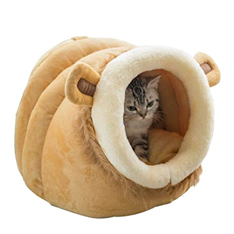KOBWA Cute Cartoon Pet Bed House, Novelty Animal Shaped Pet Nest, Soft Warm Cat