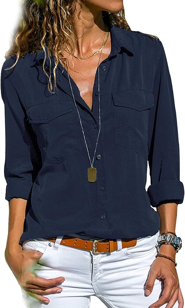 Camisas Mujer Manga Larga Camisetas y Camisas Cuello de Solapa Camisas y Blusas Fluido Botones Casual Camisa Tallas Grandes De Vestir (Armada, S): Amazon.es: Ropa y accesorios