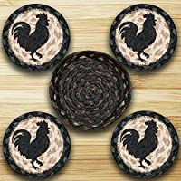Earth Rugs Cnb-459 Rooster Silhouette 5 Inch Round Basket with 4 printed Coasters