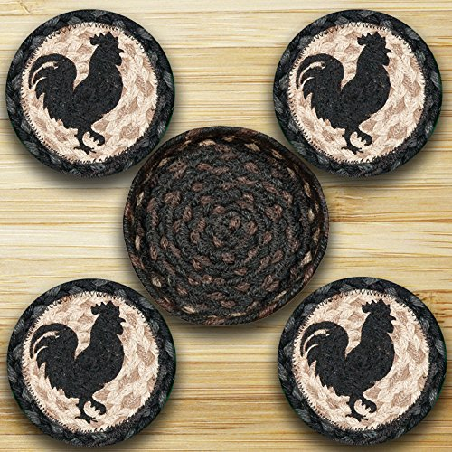 Rooster Silhouette (Earth Rugs Cnb-459 Rooster Silhouette 5 Inch Round Basket with 4 printed Coasters)