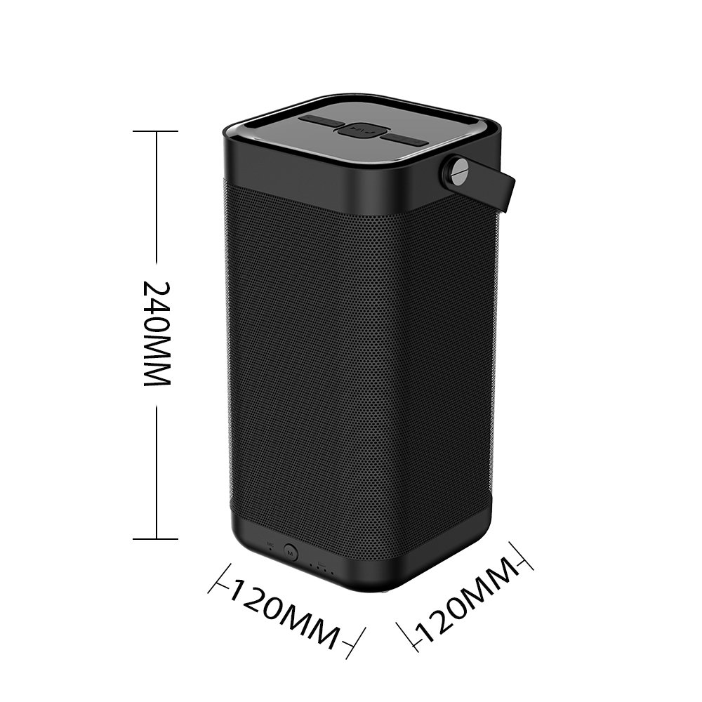 SARDiNE Outdoor Bluetooth Speaker, 16W Output from Dual 8W Drivers, Two Passive Subwoofers, Built-in Mic 5200mah Battery, Perfect for Karaoke, iPhone, iPad, Samsung GALAXY Series(Black,with Mic) by SARDINE (Image #7)