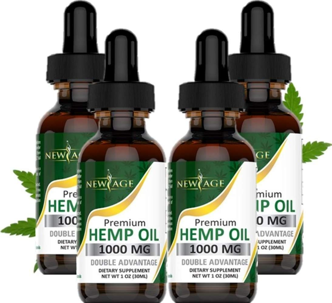 (4-Pack) Hemp Oil Extract for Pain, Anxiety & Stress Relief - 1000mg of Organic Hemp Extract - Grown & Made in USA - 100% Natural Hemp Drops - Helps with Sleep, Skin & Hair by New Age