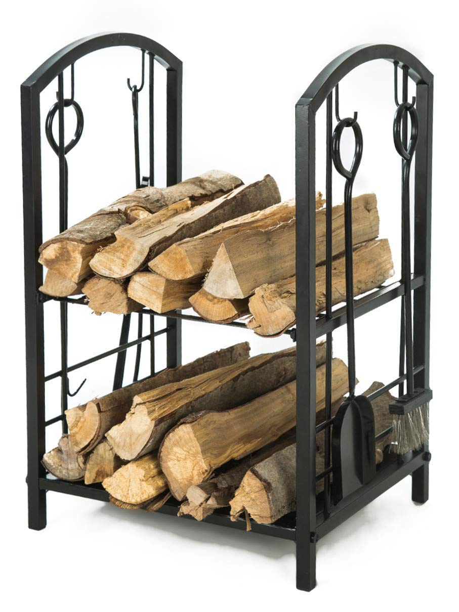 LITHER Medium Size Fireplace Log Rack with 4 Bin Holder for Fireplace Tool Set Brush Shovel Poker Tongs, 28(H) x18(L) x15(W) inch by LITHER