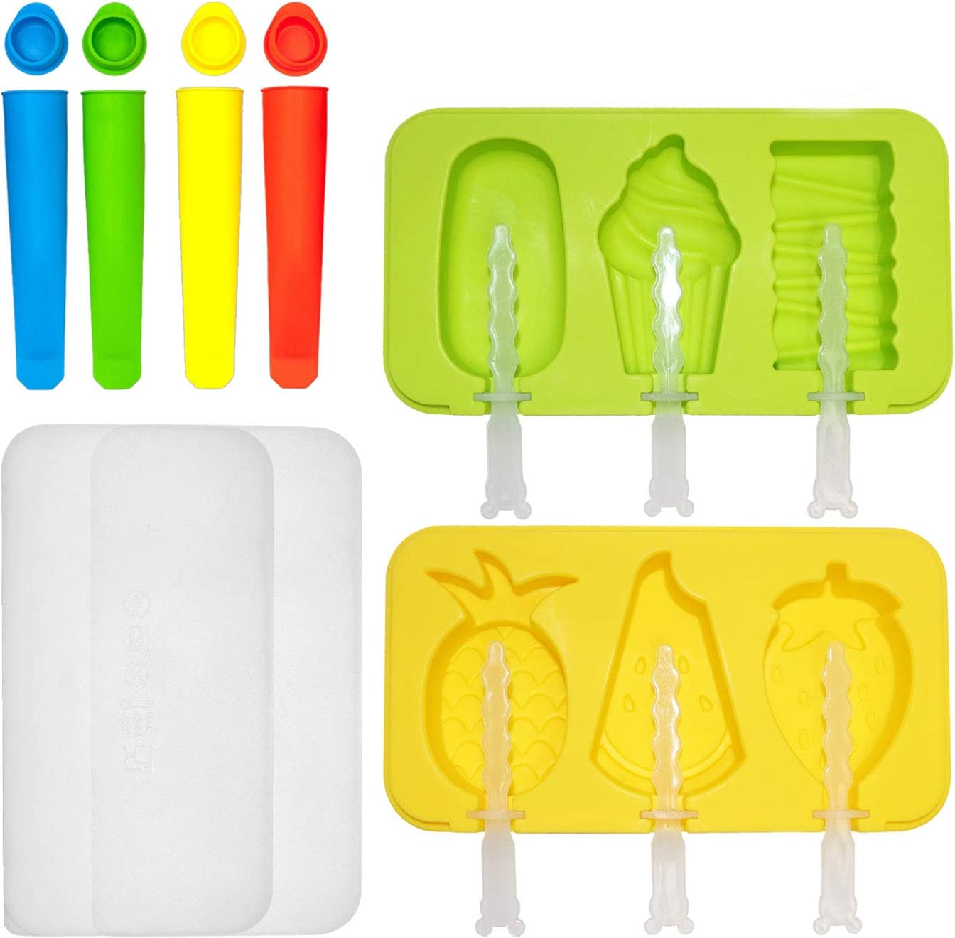 Popsicle Molds Set, Silicone Ice Pop Molds With Lids, Reusable Homemade Popsicle Make with 12 Popsicle Sticks, Food Grade Silicone, BPA-Free