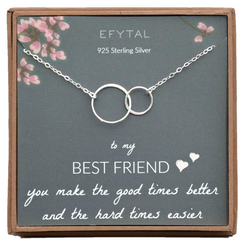 Sterling Silver Interlocking Infinity Circles Friendship Necklace Gift for Friends BFF EFYTAL Best Friend Gifts