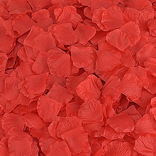 Rose Petals 300 Count Fabric Artificial Fabric Flower for Valentine Ceremony Wedding or Home Hotel Garden Bouquet Party Decorations (Red)