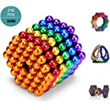 UiDor Magnets Blocks Sculpture Toys with 216pcs and 5mm for Intelligence Development and Stress Relief,Great For Office School Home Education (Multicolor)