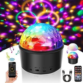 Discokugel LED Stimmungslichter Kinder SOLMORE Disco Licht Partyleuchte  Disco Lichteffekt Timing-Funktion 9 Farbe mit Fernbedienung & USB für  Kinder ...
