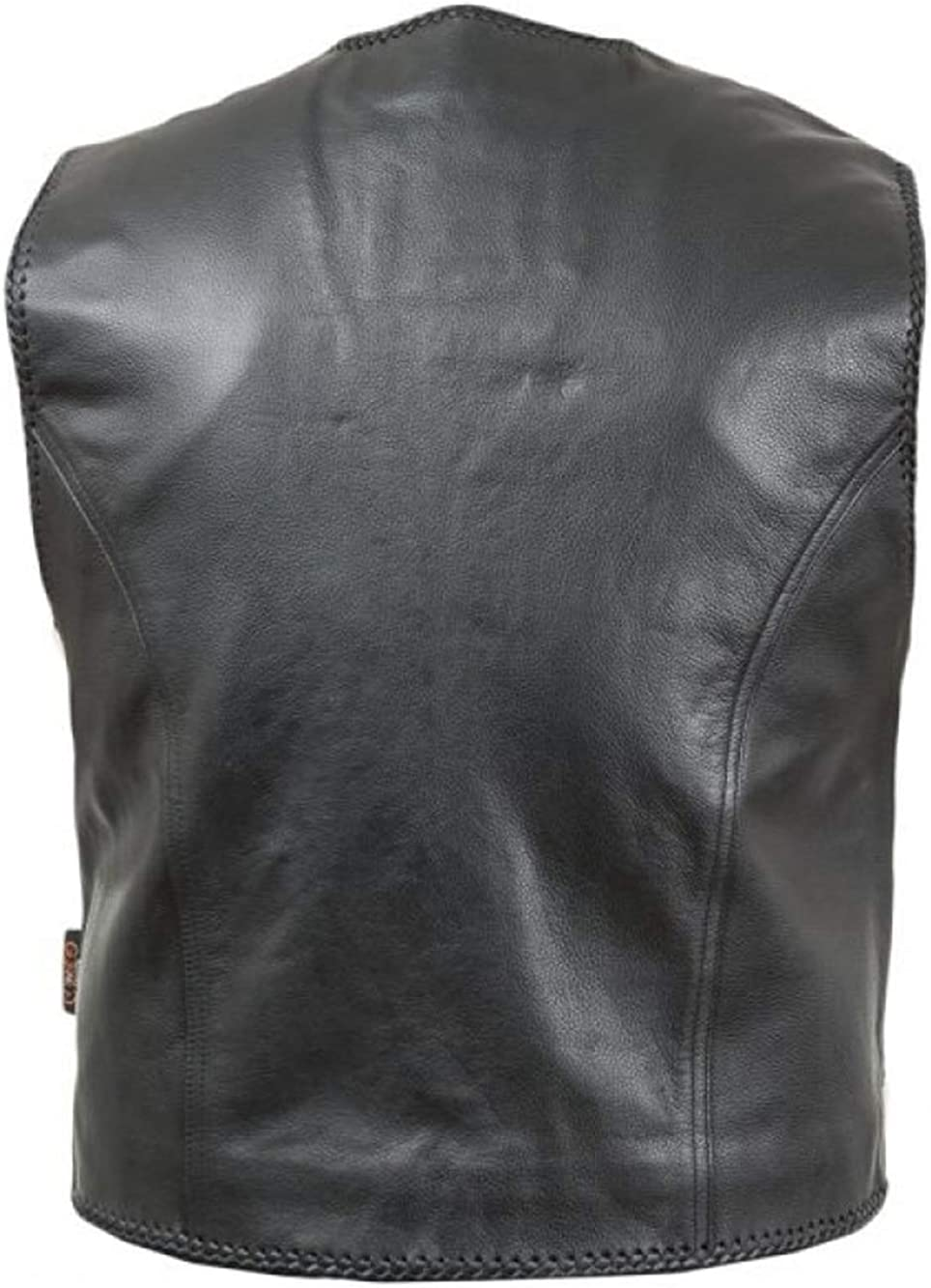 O YES Men Biker Motorcycle Riding Hand Braided Real Cow Leather Vest Waistcoat Big Pockets Black