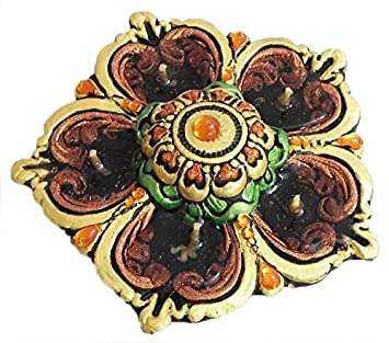 DollsofIndia Terracotta Flower Diya with Gel Wax Candle - Dia - 5 inches (IV50) Home & Décor at amazon
