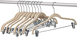 Home-it 10 Pack Clothes Hangers with clips -IVORY Velvet Hangers for skirt hangers - Clothes Hanger - pants hangers - Ultra Thin No Slip