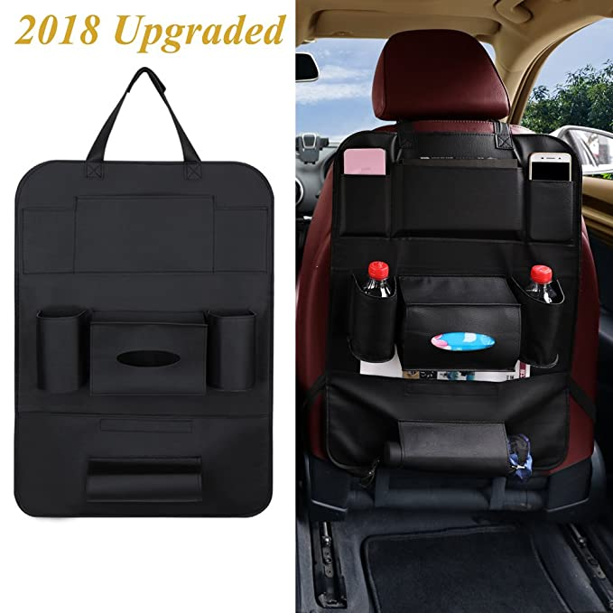 Car Seat Organizer PU Leather Multifunctional Back 8 Pockets Table Tablet