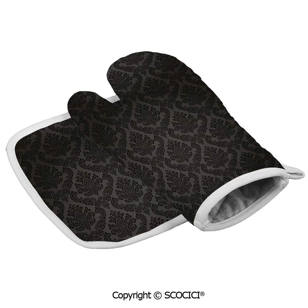 SCOCICI Oven Mitts Glove - Ancient Damask Motifs Victorian Vintage Revival Design Elements Medieval Heat Resistant, Handle Hot Oven Cooking Items Safely