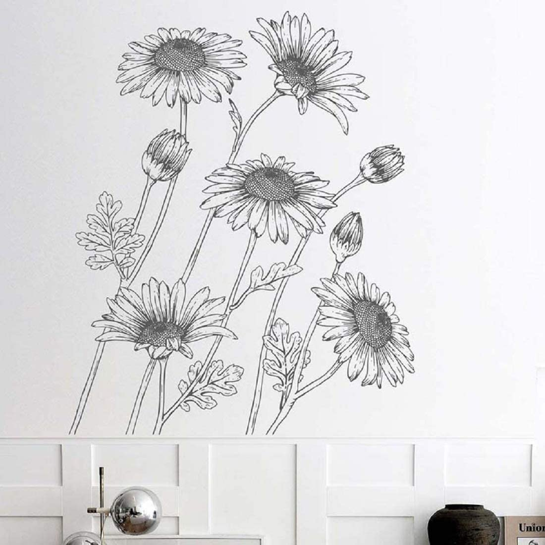 Sunflowers Wall Decals Peel and Stick Stickers Black and White Sketch Art Line Mural Decor for Home Dorm Office Party Nursery