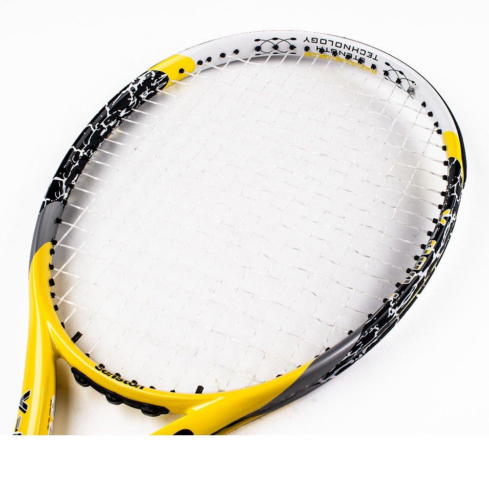 Senston Full Carbon Fiber Tennis Racket 27 Random Color 1 Vibration Dampeners lightweight Stability Adult Tennis Racquet Set with Bag 1 Overgrip - Black//Blue//Yellow