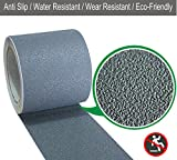Anti Slip Safety Tape, Water Resistant High Traction Grip for Stairs, Steps, Boats, Garage, Ladders, Wear Resistant Strong Adhesive Rubberized Steady Treads Indoor or Outdoor (4''x16.4', Grey)