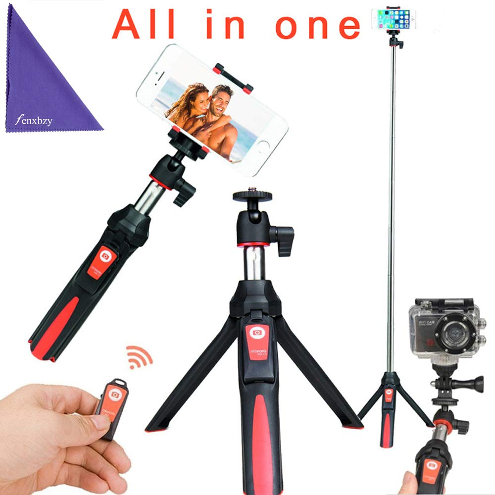 BENRO Handheld Tripod 3 in 1 Self-Portrait Monopod Phone Selfie Stick Bluetooth Remote Shutter Gopro iPhone Sumsang (Red)