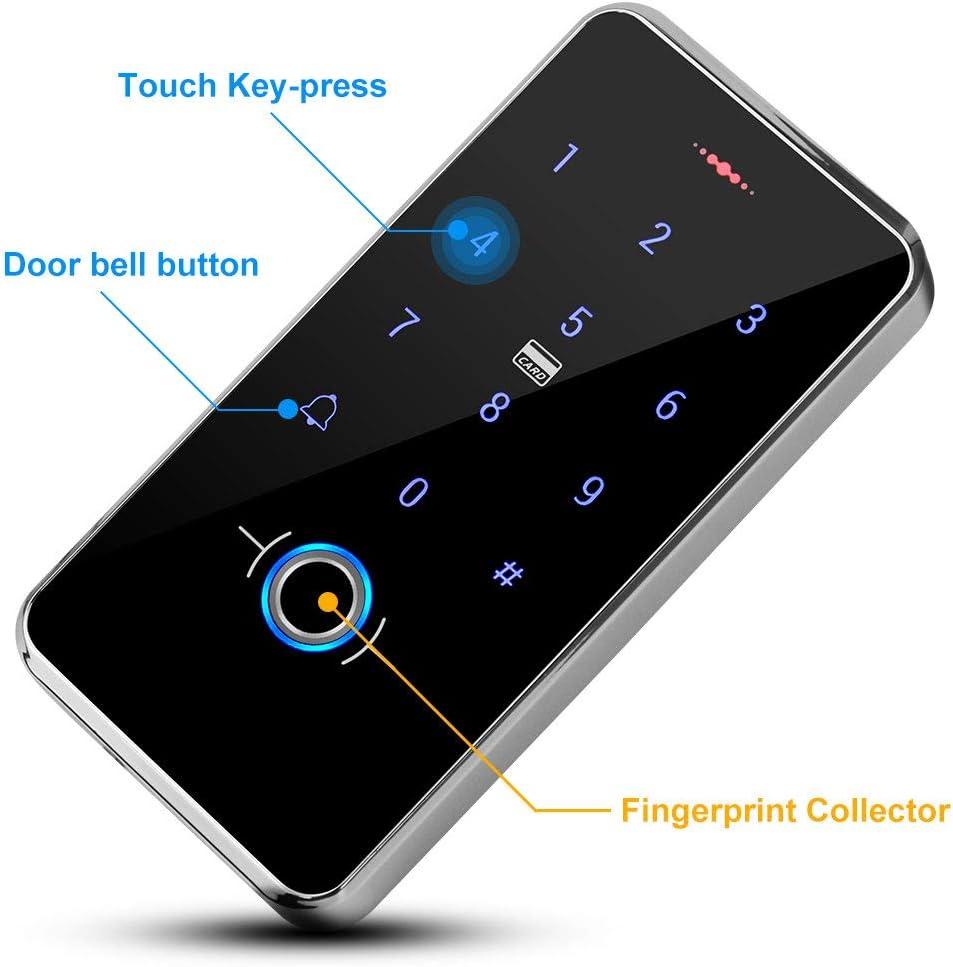 Touch-Tastatur-Leseger/ät DC 12 V mit 13,56 MHz Schl/üsselanh/ängern KDL RFID Biometrischer Fingerabdruck-Zugangskontrolle T/ür/öffner wasserdicht Hintergrundbeleuchtung